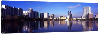 Buildings at the waterfront, Lake Eola, Orlando, Orange County, Florida, USA 2010 #3 Canvas Art Print