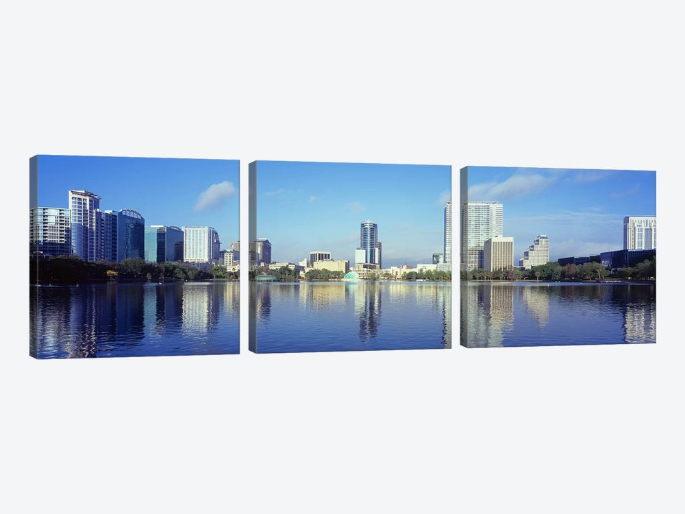 Buildings at the waterfront, Lake Eola, Orlando, Orange County, Florida, USA 2010 #4 by Panoramic Images 3-piece Canvas Art