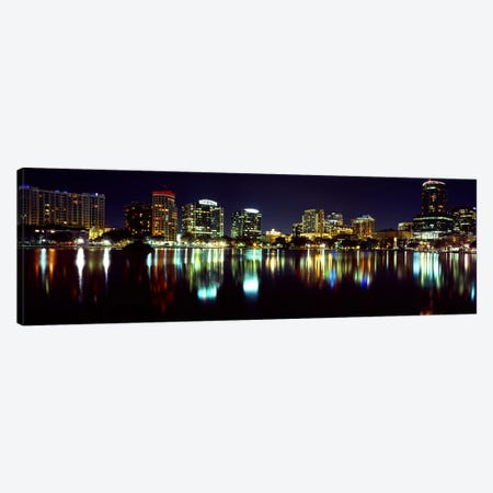 Buildings lit up at night in a city, Lake Eola, Orlando, Orange County, Florida, USA 2010 Canvas Print #PIM8699} by Panoramic Images Canvas Wall Art