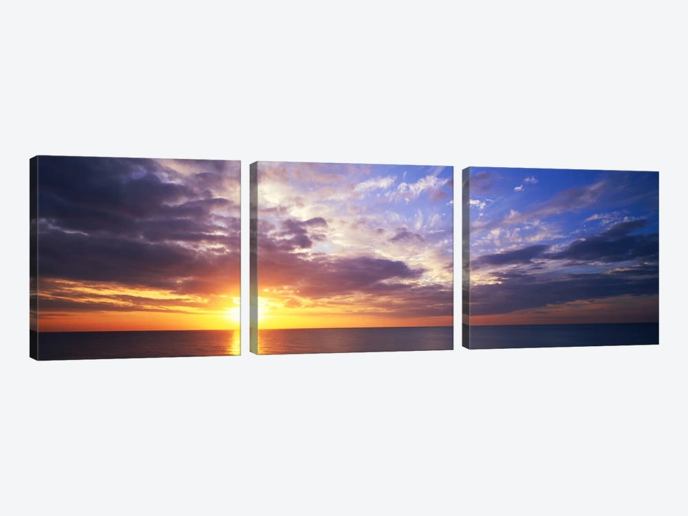 SunsetWater, Ocean, Caribbean Island, Grand Cayman Island by Panoramic Images 3-piece Canvas Artwork