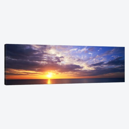 SunsetWater, Ocean, Caribbean Island, Grand Cayman Island Canvas Print #PIM869} by Panoramic Images Canvas Wall Art