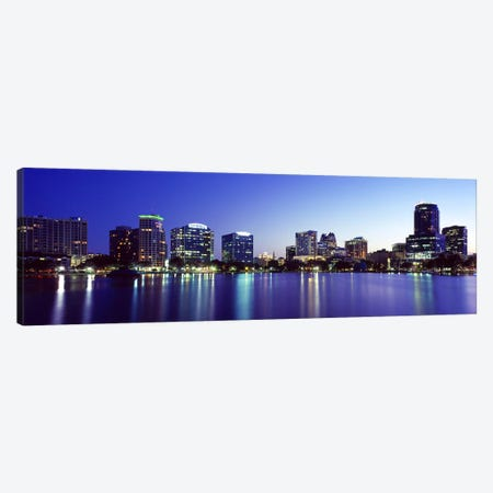 Buildings lit up at night in a city, Lake Eola, Orlando, Orange County, Florida, USA 2010 #2 Canvas Print #PIM8700} by Panoramic Images Canvas Artwork