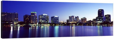 Buildings lit up at night in a city, Lake Eola, Orlando, Orange County, Florida, USA 2010 #2 Canvas Art Print