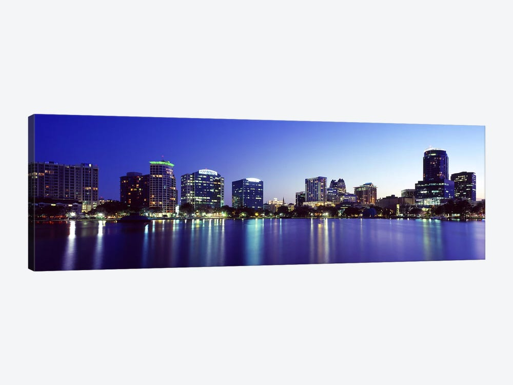 Buildings lit up at night in a city, Lake Eola, Orlando, Orange County, Florida, USA 2010 #2 1-piece Canvas Art