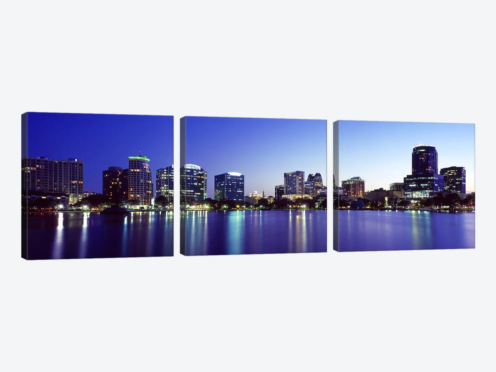 Buildings lit up at night in a city, Lake Eola, Orlando, Orange County, Florida, USA 2010 #2 3-piece Canvas Art