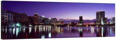 Buildings lit up at night in a city, Lake Eola, Orlando, Orange County, Florida, USA 2010 #3 Canvas Art Print