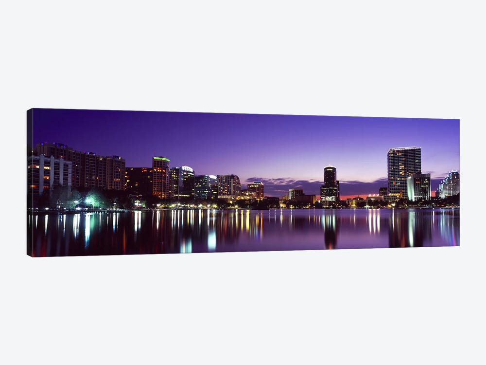 Buildings lit up at night in a city, Lake Eola, Orlando, Orange County, Florida, USA 2010 #3 by Panoramic Images 1-piece Canvas Print