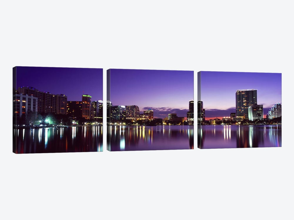 Buildings lit up at night in a city, Lake Eola, Orlando, Orange County, Florida, USA 2010 #3 by Panoramic Images 3-piece Art Print