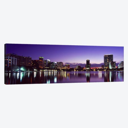Buildings lit up at night in a city, Lake Eola, Orlando, Orange County, Florida, USA 2010 #3 Canvas Print #PIM8701} by Panoramic Images Canvas Art