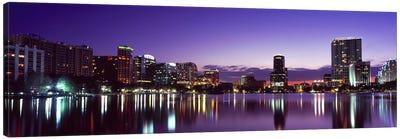 Buildings lit up at night in a city, Lake Eola, Orlando, Orange County, Florida, USA 2010 #3 Canvas Art Print