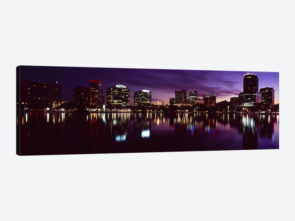 Buildings lit up at night in a city, Lake Eola, Orlando, Orange County, Florida, USA 2010 #4 by Panoramic Images 1-piece Canvas Wall Art