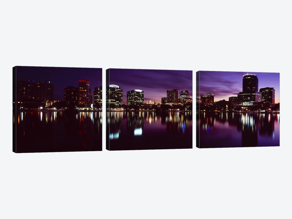 Buildings lit up at night in a city, Lake Eola, Orlando, Orange County, Florida, USA 2010 #4 by Panoramic Images 3-piece Canvas Artwork