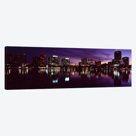 Buildings lit up at night in a city, Lake Eola, Orlando, Orange County, Florida, USA 2010 #4 Canvas Print #PIM8702} by Panoramic Images Canvas Art