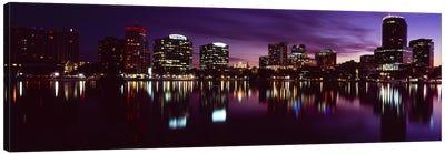 Buildings lit up at night in a city, Lake Eola, Orlando, Orange County, Florida, USA 2010 #4 Canvas Art Print