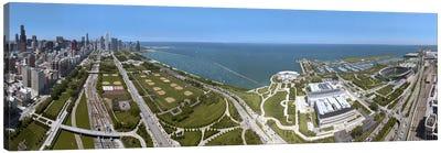 180 degree view of a city, Lake Michigan, Chicago, Cook County, Illinois, USA 2009 Canvas Print #PIM8707