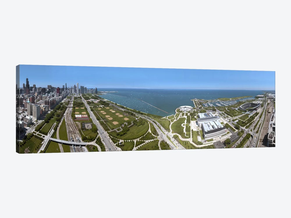 180 degree view of a city, Lake Michigan, Chicago, Cook County, Illinois, USA 2009 by Panoramic Images 1-piece Canvas Art Print