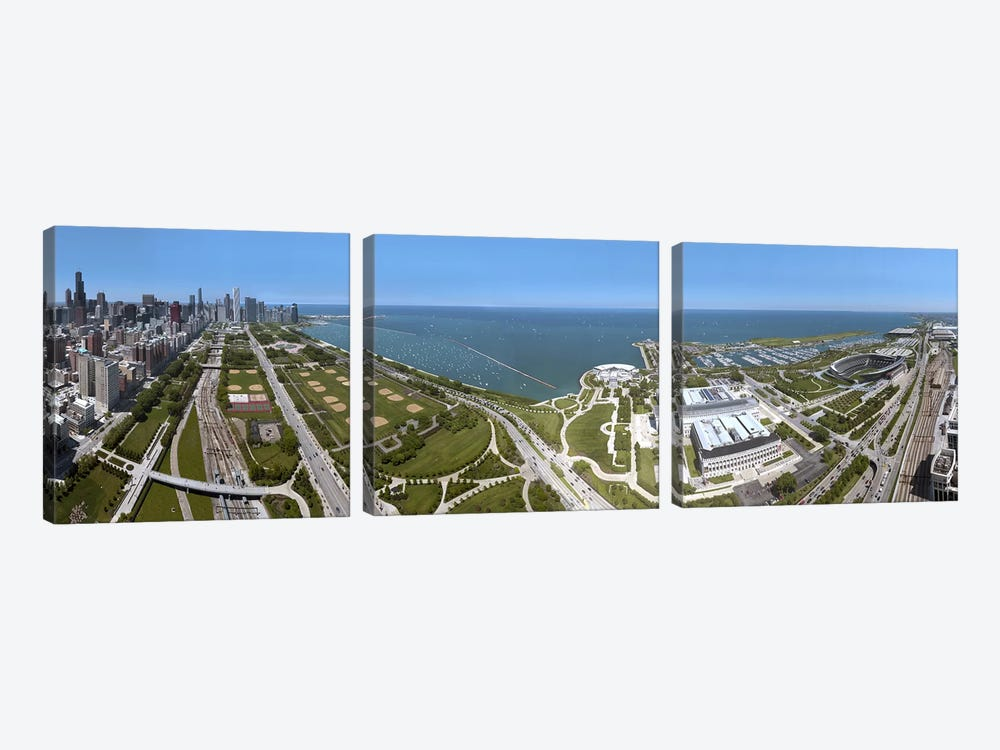 180 degree view of a city, Lake Michigan, Chicago, Cook County, Illinois, USA 2009 by Panoramic Images 3-piece Art Print