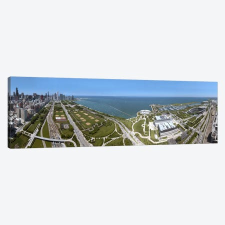 180 degree view of a city, Lake Michigan, Chicago, Cook County, Illinois, USA 2009 Canvas Print #PIM8707} by Panoramic Images Canvas Art Print