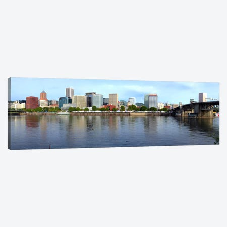 Buildings at the waterfront, Morrison Bridge, Willamette River, Portland, Oregon, USA 2010 Canvas Print #PIM8708} by Panoramic Images Canvas Wall Art