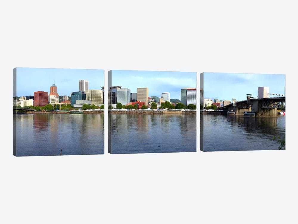 Buildings at the waterfront, Morrison Bridge, Willamette River, Portland, Oregon, USA 2010 3-piece Canvas Art