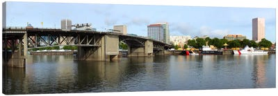 Buildings at the waterfront, Morrison Bridge, Willamette River, Portland, Oregon, USA 2010 #2 Canvas Art Print