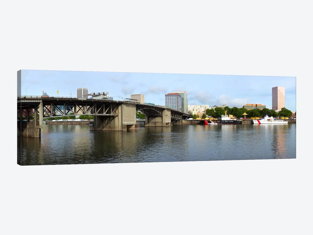 Buildings at the waterfront, Morrison Bridge, Willamette River, Portland, Oregon, USA 2010 #2 by Panoramic Images 1-piece Art Print