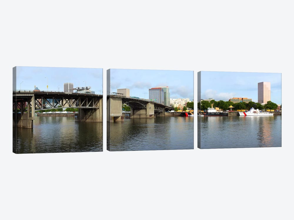 Buildings at the waterfront, Morrison Bridge, Willamette River, Portland, Oregon, USA 2010 #2 by Panoramic Images 3-piece Art Print
