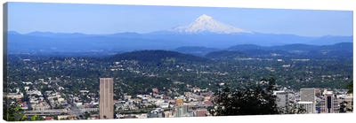 High angle view of a city, Mt Hood, Portland, Oregon, USA 2010 Canvas Art Print