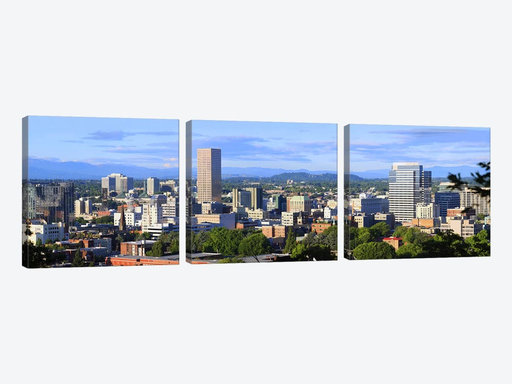 Skyscrapers in a city, Portland, Oregon, USA 2010 by Panoramic Images 3-piece Canvas Artwork