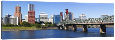 Bridge across a river, Hawthorne Bridge, Willamette River, Multnomah County, Portland, Oregon, USA 2010 Canvas Art Print