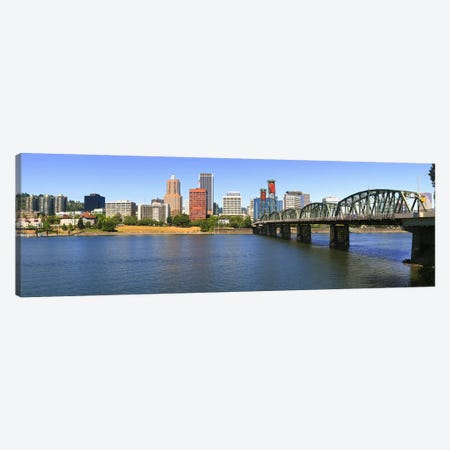 Bridge across the river, Hawthorne Bridge, Willamette River, Portland, Multnomah County, Oregon, USA Canvas Print #PIM8714} by Panoramic Images Canvas Wall Art