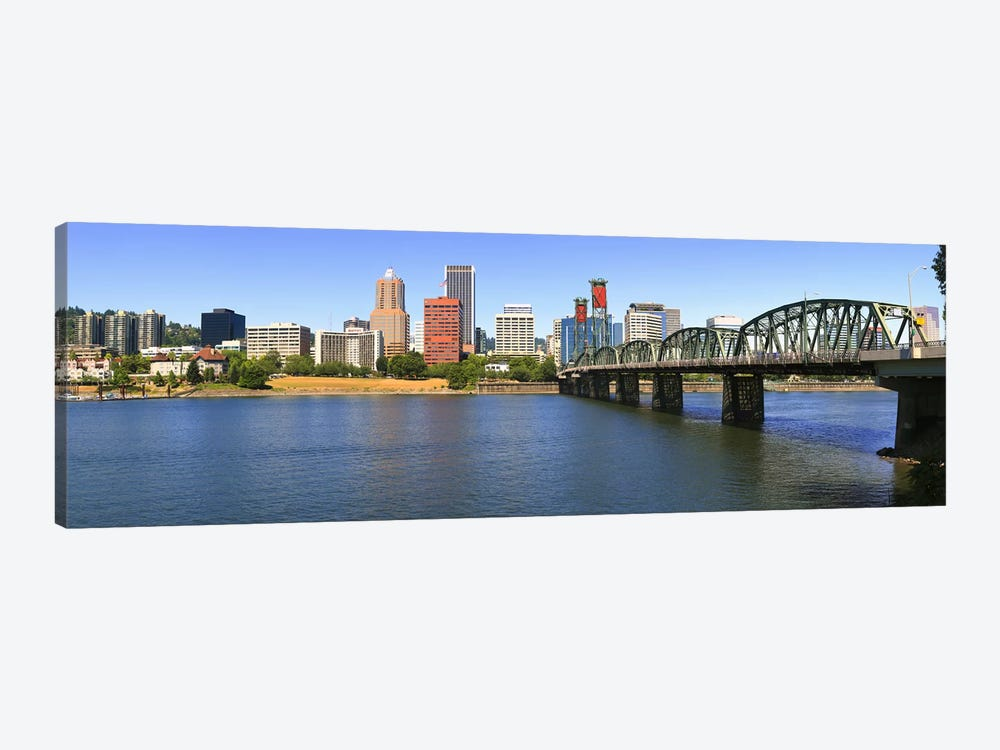 Bridge across the river, Hawthorne Bridge, Willamette River, Portland, Multnomah County, Oregon, USA by Panoramic Images 1-piece Canvas Print