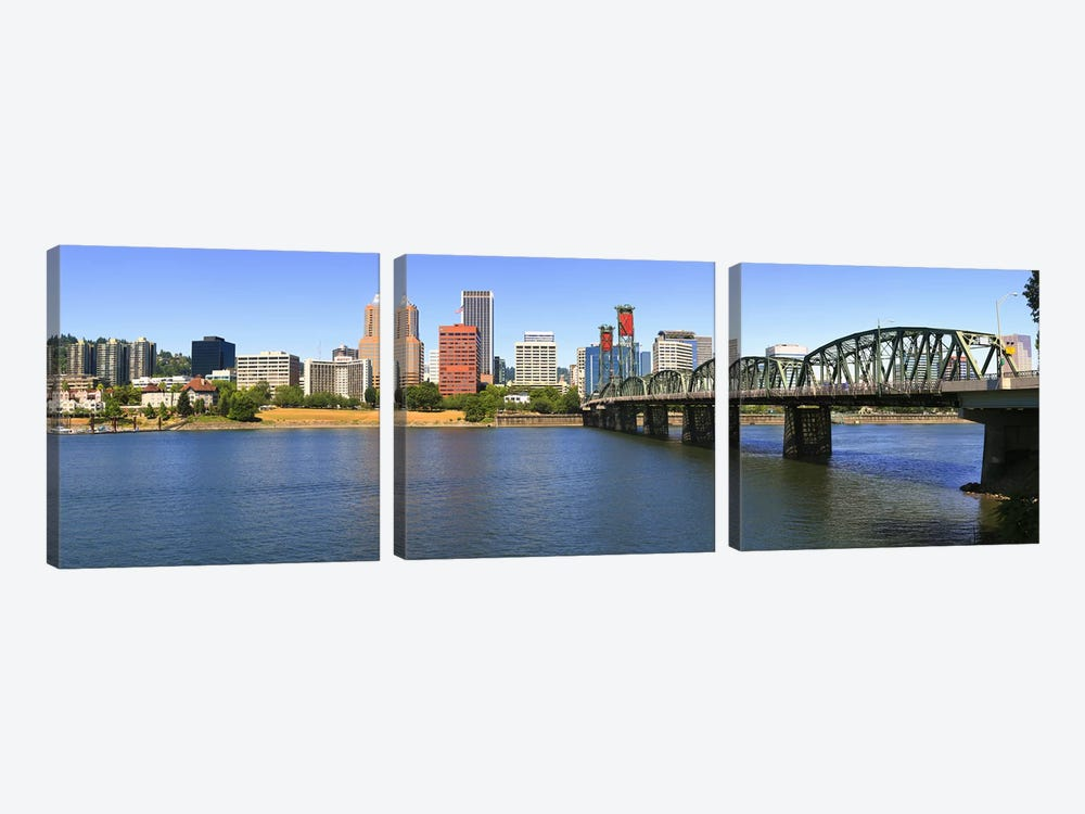Bridge across the river, Hawthorne Bridge, Willamette River, Portland, Multnomah County, Oregon, USA by Panoramic Images 3-piece Art Print