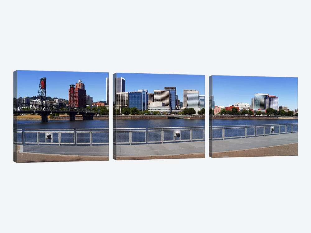 Buildings at the waterfront, Vista Point, Portland, Multnomah County, Oregon, USA 2010 by Panoramic Images 3-piece Canvas Artwork