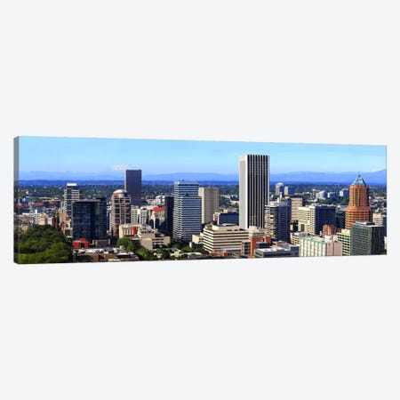 High angle view of a cityscape, Portland, Multnomah County, Oregon, USA 2010 Canvas Print #PIM8716} by Panoramic Images Canvas Art