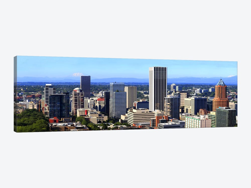 High angle view of a cityscape, Portland, Multnomah County, Oregon, USA 2010 by Panoramic Images 1-piece Art Print