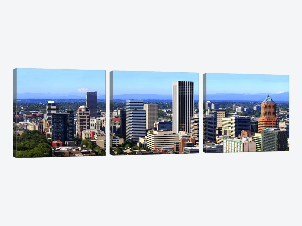High angle view of a cityscape, Portland, Multnomah County, Oregon, USA 2010 by Panoramic Images 3-piece Canvas Print