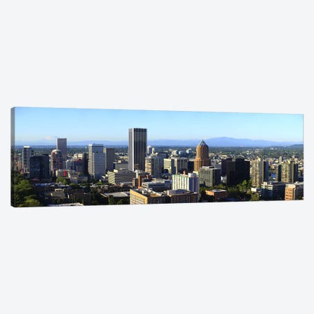 Cityscape with Mt St. Helens and Mt Adams in the background, Portland, Multnomah County, Oregon, USA 2010 Canvas Print #PIM8718} by Panoramic Images Canvas Art Print