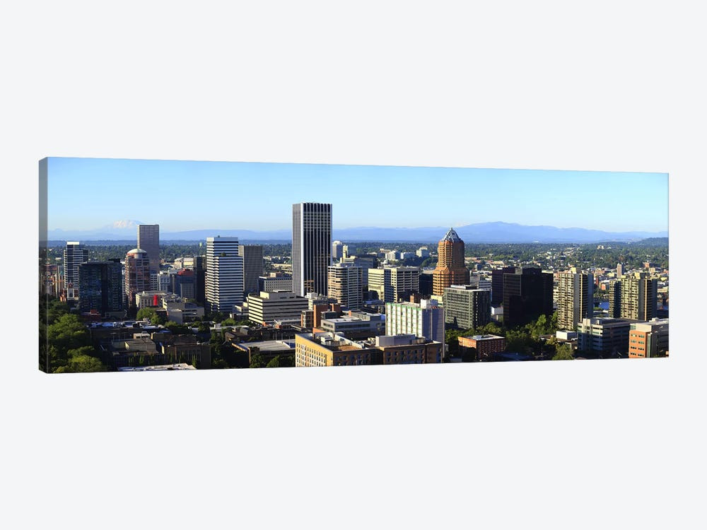 Cityscape with Mt St. Helens and Mt Adams in the background, Portland, Multnomah County, Oregon, USA 2010 by Panoramic Images 1-piece Canvas Print