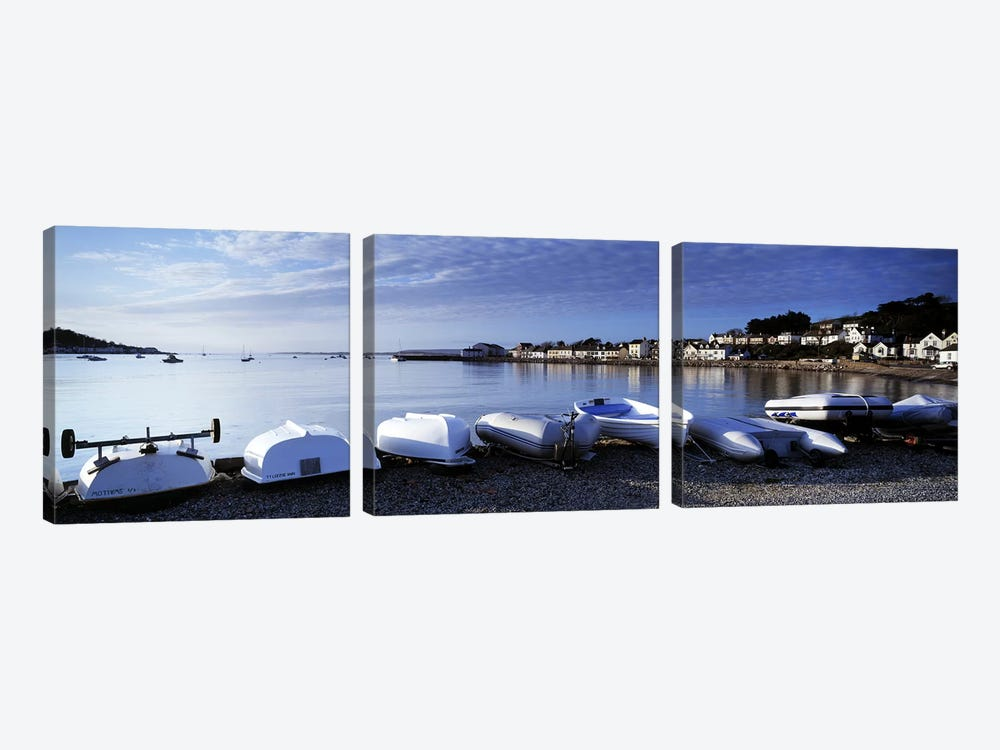 Boats on the beach, Instow, North Devon, Devon, England by Panoramic Images 3-piece Art Print