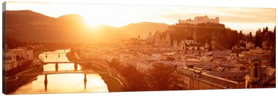 Austria, Salzburg, Salzach River Canvas Art Print