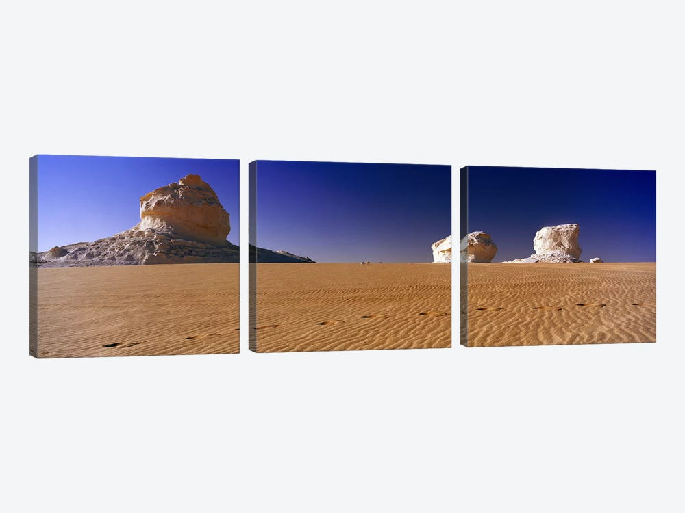 Rock formations in a desertWhite Desert, Farafra Oasis, Egypt by Panoramic Images 3-piece Canvas Print