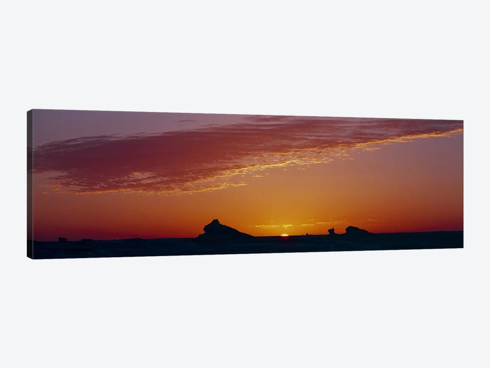 Silhouette of rock formations in a desert, White Desert, Farafra Oasis, Egypt by Panoramic Images 1-piece Canvas Wall Art