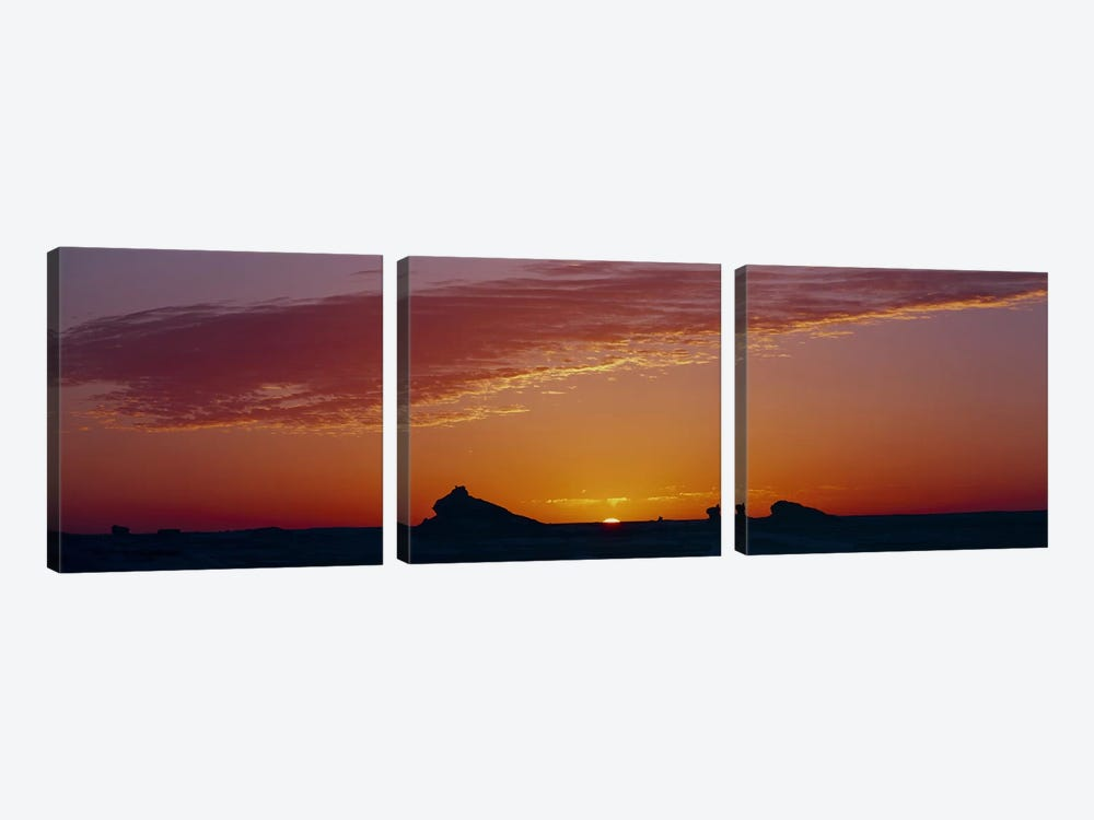 Silhouette of rock formations in a desert, White Desert, Farafra Oasis, Egypt by Panoramic Images 3-piece Canvas Wall Art
