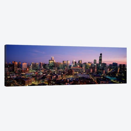 Skyscrapers in a city lit up at dusk, Chicago, Illinois, USA #2 Canvas Print #PIM873} by Panoramic Images Canvas Art Print