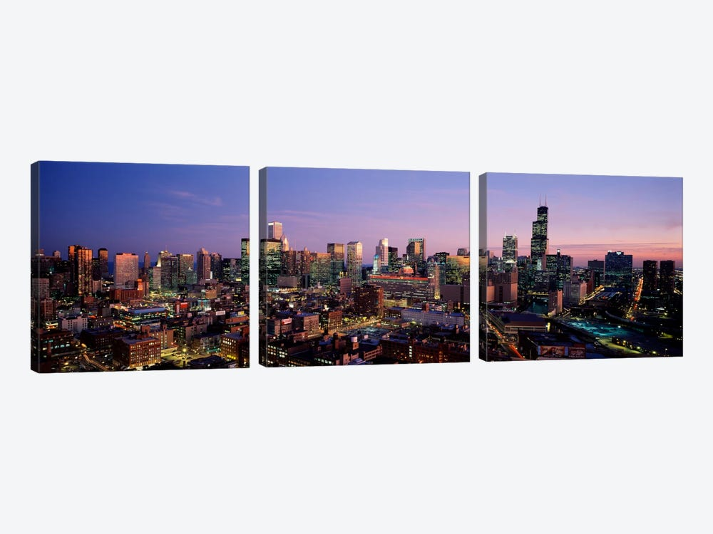 Skyscrapers in a city lit up at dusk, Chicago, Illinois, USA #2 by Panoramic Images 3-piece Canvas Art Print