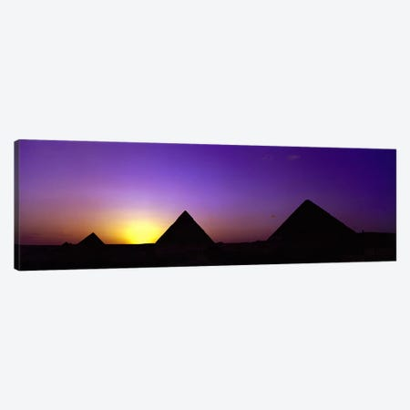 Silhouette of pyramids at dusk, Giza, Egypt Canvas Print #PIM8747} by Panoramic Images Canvas Art Print