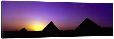Silhouette of pyramids at dusk, Giza, Egypt Canvas Art Print