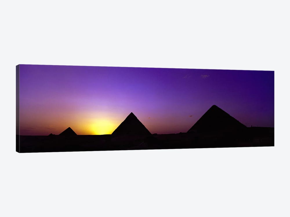 Silhouette of pyramids at dusk, Giza, Egypt by Panoramic Images 1-piece Canvas Art Print