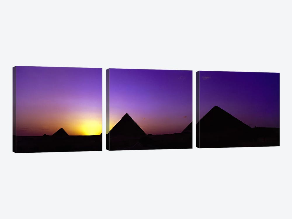 Silhouette of pyramids at dusk, Giza, Egypt by Panoramic Images 3-piece Canvas Print